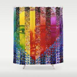 Conundrum I - Abstract Rainbow Goddess Shower Curtain