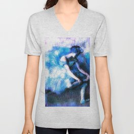 Degas The Dancer Turquoise Teal Dream Unisex V-Neck