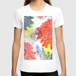 red and blue dahlias with apples. printmaking T-shirt