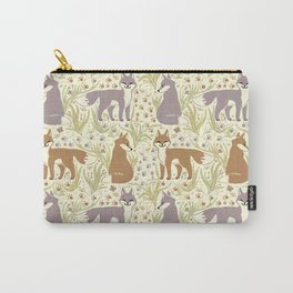 Adorable Fox Friends, Animal Pattern in Nature Colors of Grey and Brown with Paw Prints Carry-All Pouch