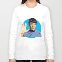 spock Long Sleeve T-shirts featuring Spock by Connor Corbett