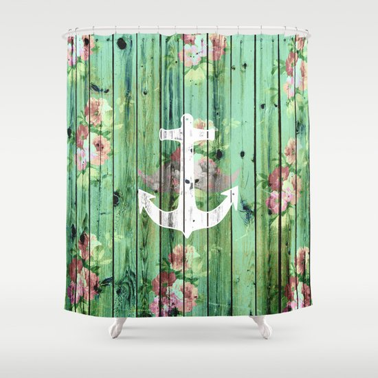 Vintage Floral Nautical Anchor Green Beach Wood Shower Curtain