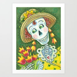 TULIPS DIVINE Spring Skeleton Art Print