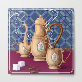 Coffee pot and two cups Metal Print