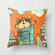 Retro Cat Throw Pillow