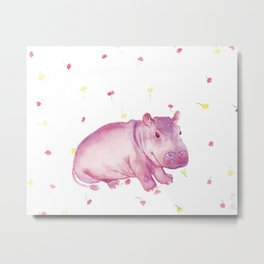 Pink Fiona Hippo Flower Painting Metal Print