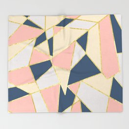 Girly Geometric Triangles with Faux Gold Throw Blanket