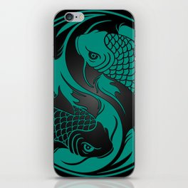 Teal Blue and Black Yin Yang Koi Fish iPhone Skin