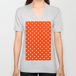 Orange Pop and White Polka Dots Unisex V-Neck