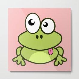Funny cute frog cartoon Metal Print