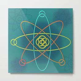 Line Atomic Structure Metal Print
