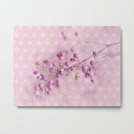 Pink Flower Buds, Star Pattern Montage Metal Print