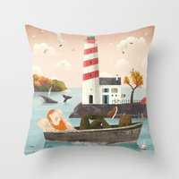 lighthouse Throw Pillows featuring Lighthouse by Seaside Spirit