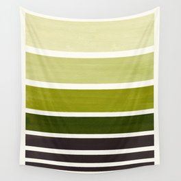 Olive Green Minimalist Watercolor Mid Century Staggered Stripes Rothko Color Block Geometric Art Wall Tapestry