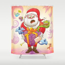A Christmas Gift from Halloween Creepies to Santa Shower Curtain