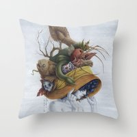 hat Throw Pillows featuring Hat by Veronica Casas