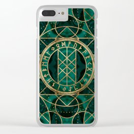 Web of Wyrd The Matrix of Fate - Gold and Malachite Clear iPhone Case