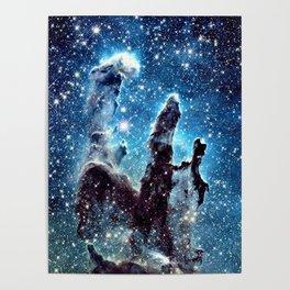 Pillars of Creation Nebula: Ocean Blue Galaxy Poster