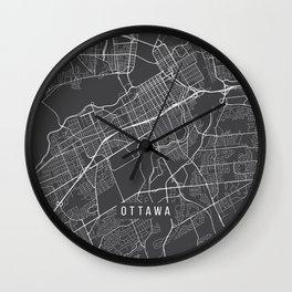 Ottawa Map, Canada - Gray Wall Clock