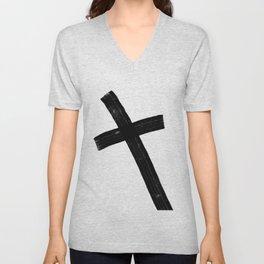 Black Cross Unisex V-Neck