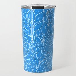 Floral Sketch - Blue Travel Mug