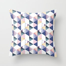 Watercolor geometric pastel colored seamless pattern Throw Pillow
