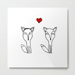 Valentine foxes by 10 yr old Valentina Metal Print