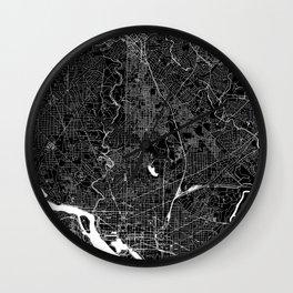 Washington D.C. Black And White Map Wall Clock
