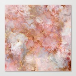 Beautiful & Dreamy Rose Gold Marble Canvas Print