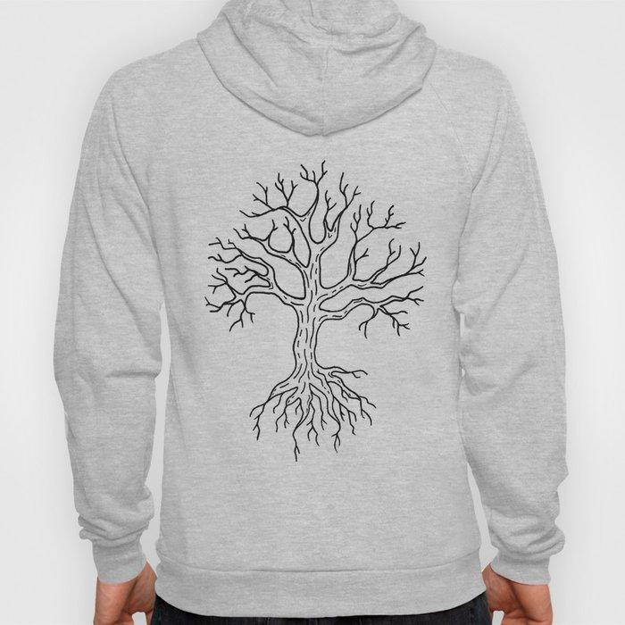 Leafless Rooted Tree Illustration Hoody