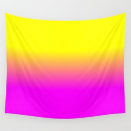 Neon Yellow and Bright Hot Pink Ombré  Shade Color Fade Wall Tapestry