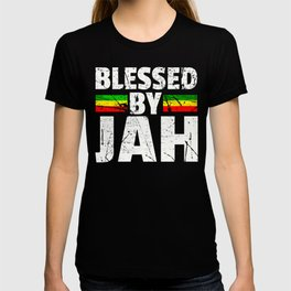 Blessed by Jah Rasta Reggae graphic Gift Jah Bless print T-shirt