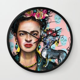 Frida + Perrito Wall Clock