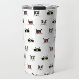 Cats Wearing Sunglasses Pattern Travel Mug