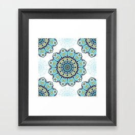 Blue christmas mandala Framed Art Print