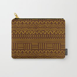 Mud Cloth on Brown Carry-All Pouch