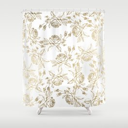 Vintage white faux gold roses floral Shower Curtain