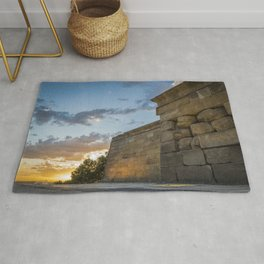 Sunset on egyptian Debod Temple in Madrid Rug