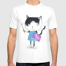 Creative Mono Cat  T-shirt