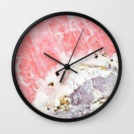 GOLD FLECKED ROSE QUARTZ Wall Clock