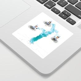Geyser Gazers - elves drinking tea on clouds Sticker