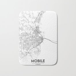 Minimal City Maps - Map Of Mobile, Alabama, United States Bath Mat