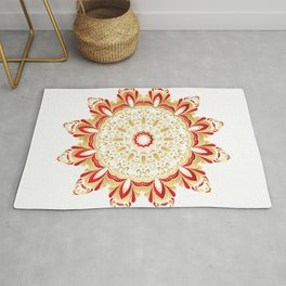 Floral Gold and Red Round Ornament Rug