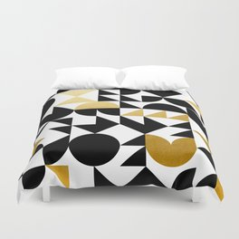 geometric black & gold Duvet Cover