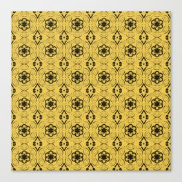 Primrose Yellow Floral Geometric Pattern Canvas Print