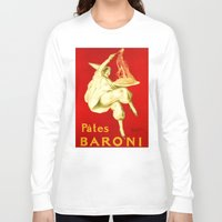 pasta Long Sleeve T-shirts featuring Pasta Baroni Leonetto Cappiello by aapshop