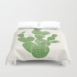 Linocut Cactus #1 Duvet Cover
