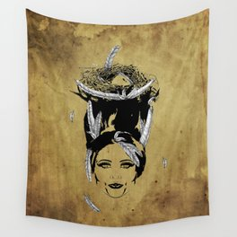 A Head Full of Feathers Wall Tapestry