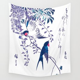 Swallow and Wisteria Wall Tapestry