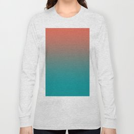 Pantone Living Coral & Viridian Green Gradient Ombre Blend Long Sleeve T-shirt